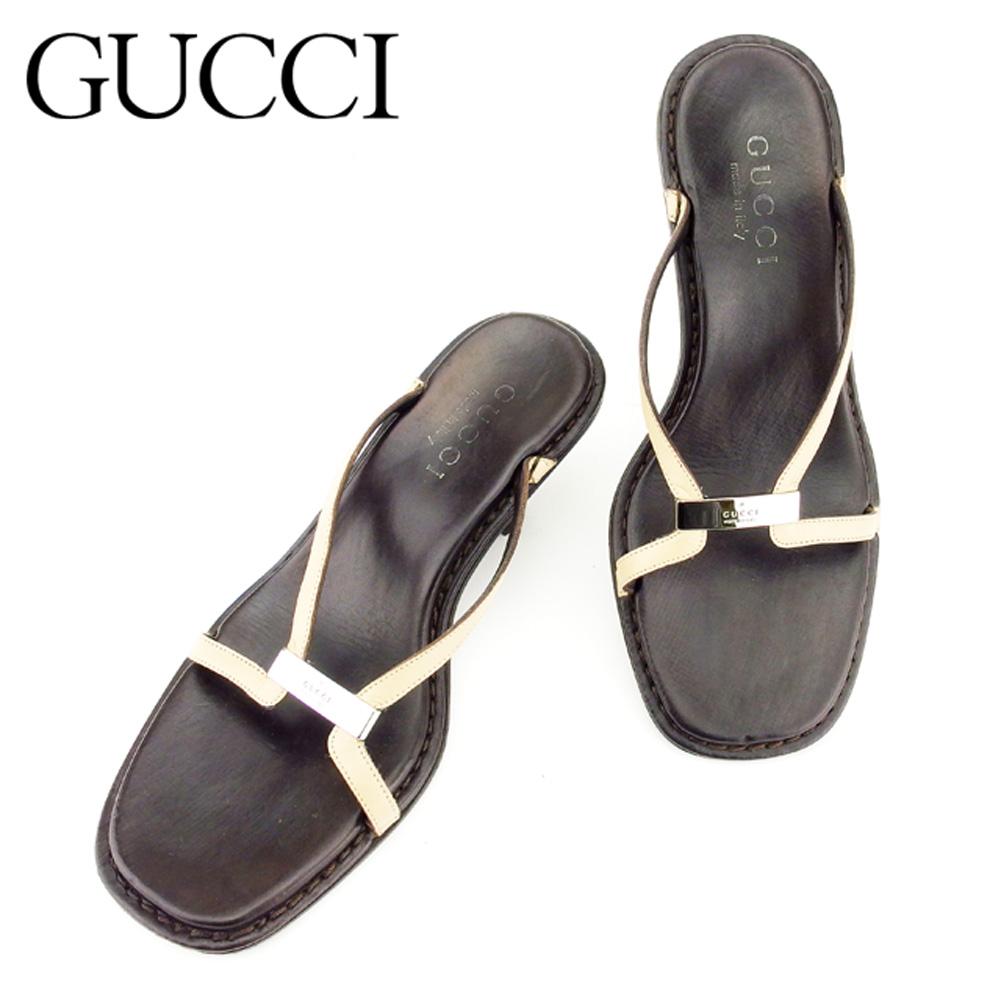 【中古】 グッチ Gucci サンダル シューズ 靴 レディース #34ハーフ ブラウン ベージュ レザー T7215 .