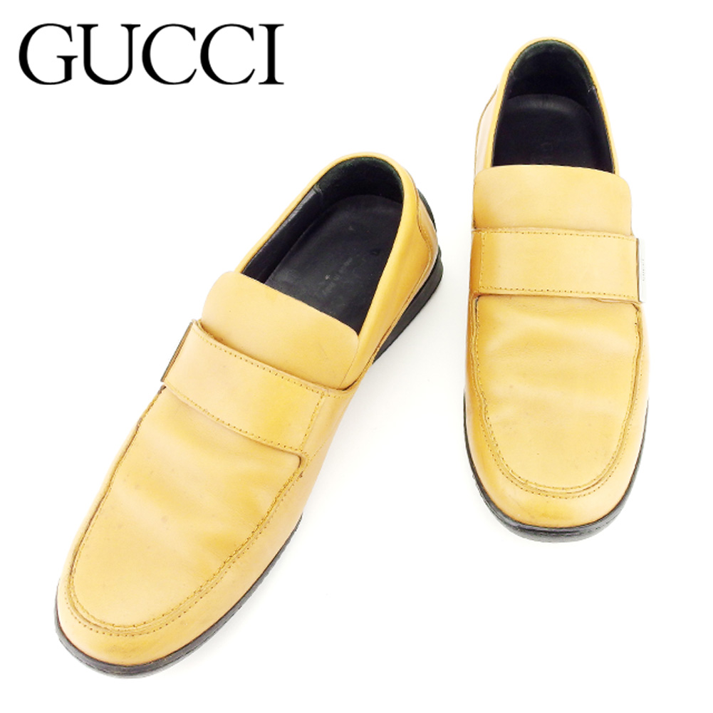 【中古】 グッチ Gucci スリッポン シューズ 靴 レディース メンズ 可 #37サイズ ライトブラウン レザー 人気 セール T7216 .