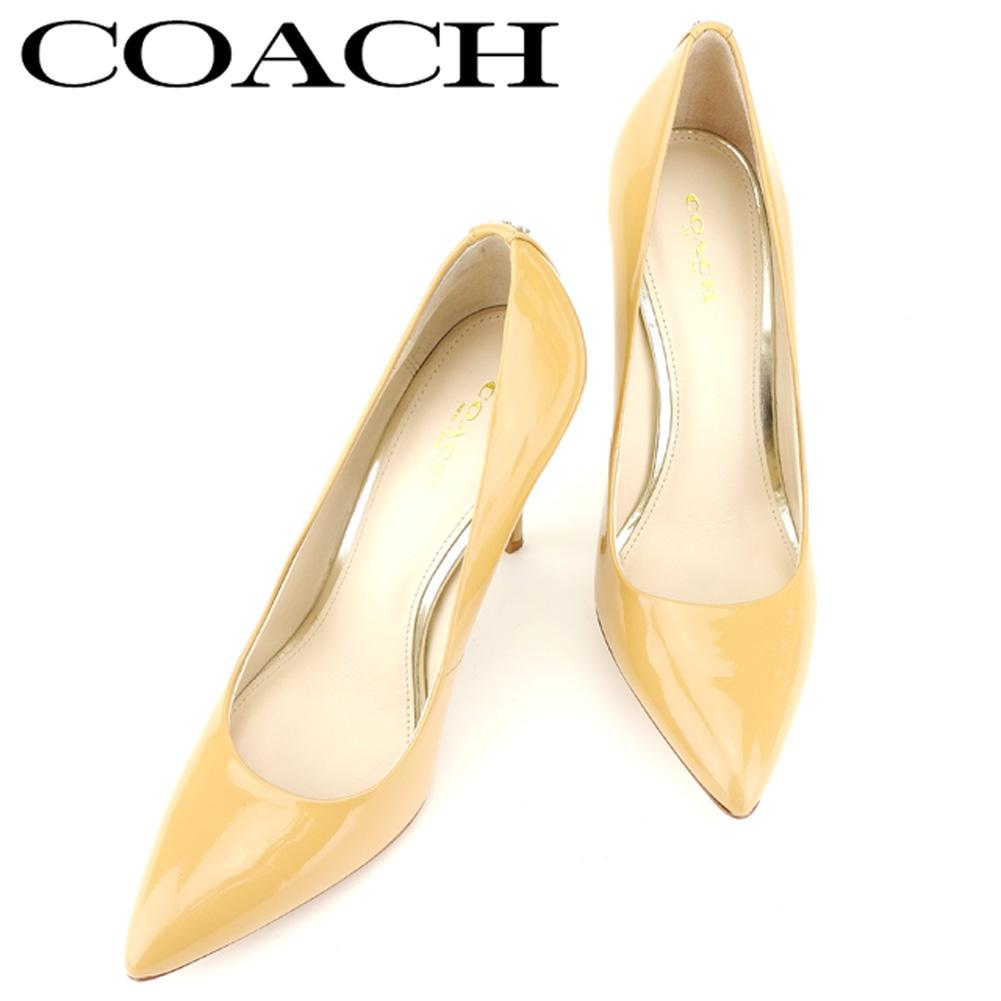 612d749a17d2 【中古】 コーチ COACH パンプス シューズ 靴 メンズ可 #7.5サイズ ベージュ エナメルレザー