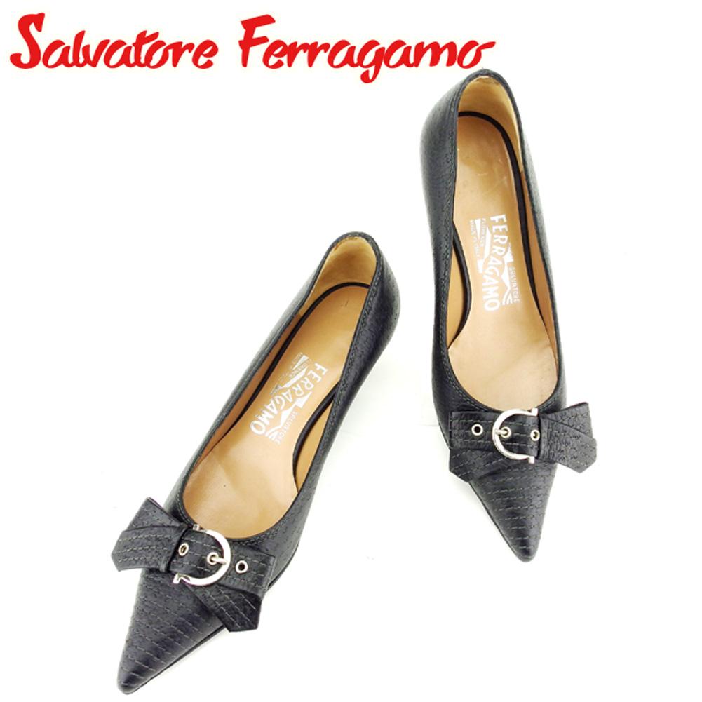 【中古】 サルヴァトーレ フェラガモ Salvatore Ferragamo パンプス シューズ 靴 レディース #5 ブラック レザー C3195