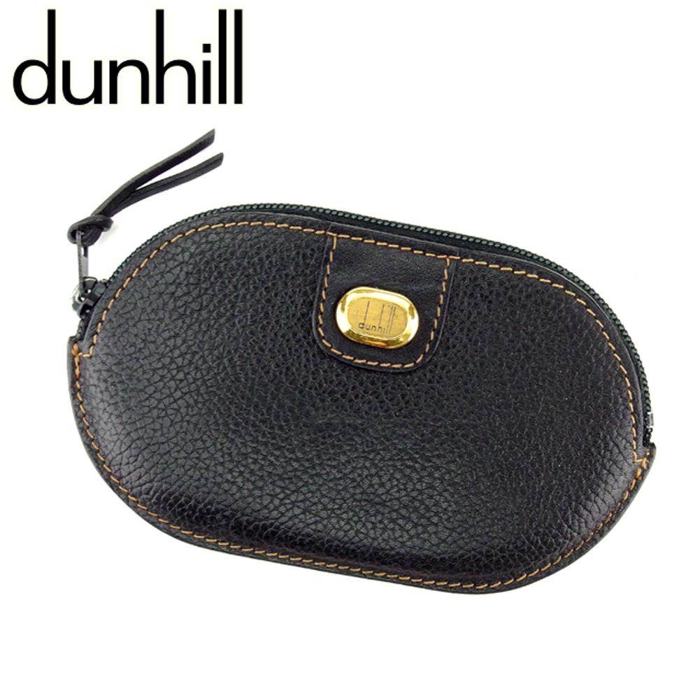 【中古】 ダンヒル dunhill コインケース 小銭入れ メンズ ロゴプレート ブラック レザー 人気 セール C3200