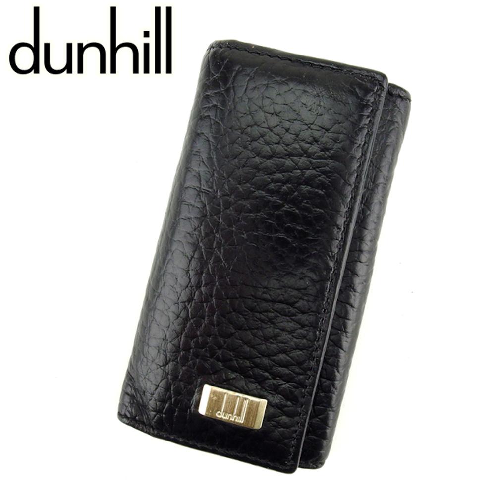 【中古】 ダンヒル Dunhill キーケース 4連キーケース ブラック ロゴプレート メンズ C3215s .