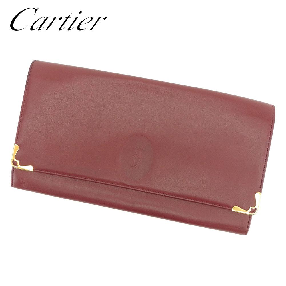 【中古】 カルティエ Cartier クラッチバッグ セカンドバッグ レディース メンズ 可 マストライン ボルドー レザー 人気 良品 S849