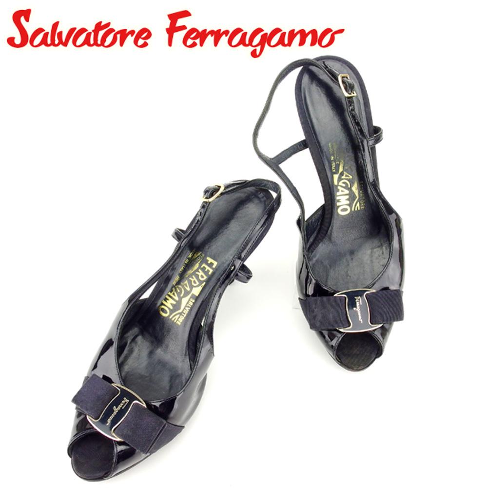 【中古】 サルヴァトーレ フェラガモ Salvatore Ferragamo ミュール シューズ 靴 レディース #5ハーフ ヴァラリボン ブラック エナメルレザー 人気 セール T7221 .