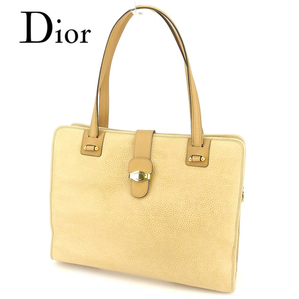 【中古】 ディオール Dior トートバッグ ワンショルダー レディース メンズ 可  ベージュ レザー 人気 セール T7227