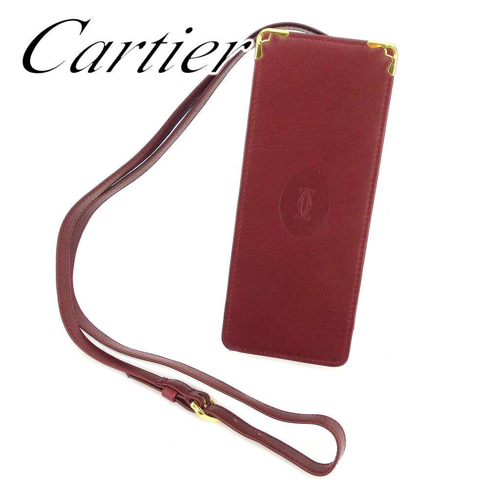 【中古】 カルティエ Cartier メガネケース 眼鏡ケース レディース メンズ 可 マストライン ボルドー レザーメガネケース T7237s .
