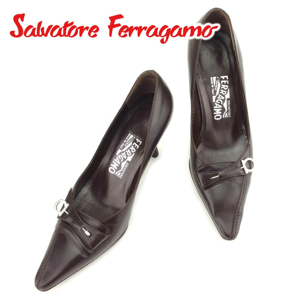 【中古】 サルヴァトーレ フェラガモ Salvatore Ferragamo パンプス シューズ 靴 レディース #6 ガンチーニ ブラウン レザー 人気 セール T7243 .
