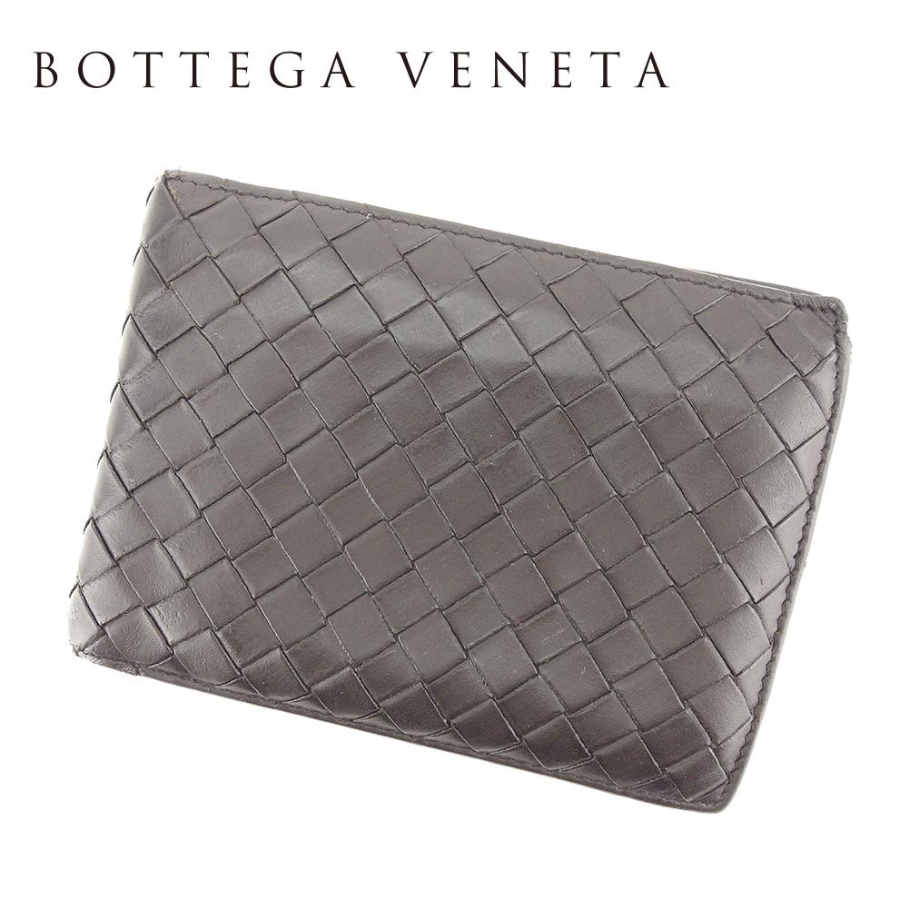 【中古】 ボッテガ ヴェネタ BOTTEGA VENETA 二つ折り 財布 レディース メンズ 可 イントレチャート ブラウン レザー 人気 セール T7250 .