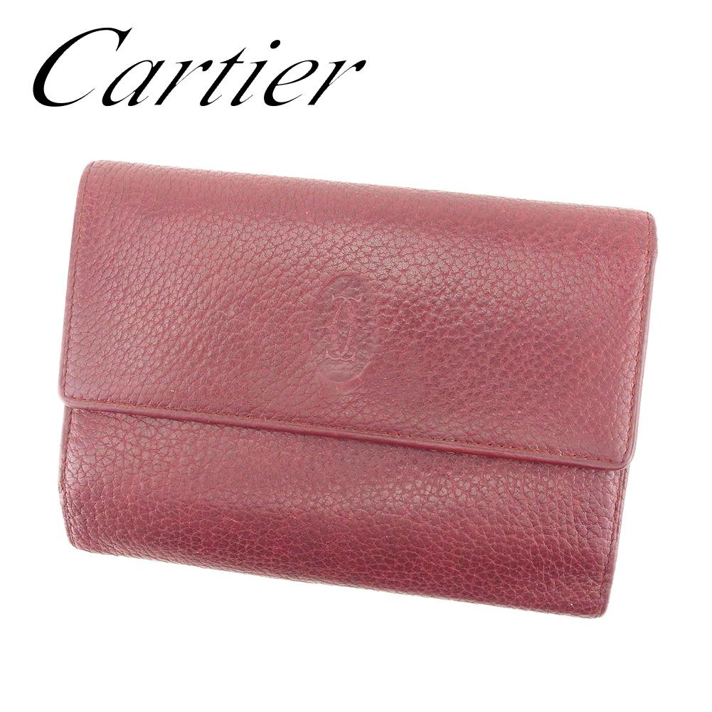 2693949f6ea7 【中古】 カルティエ Cartier 三つ折り 財布 レディース マストライン ボルドー レザー 人気 セール T7255