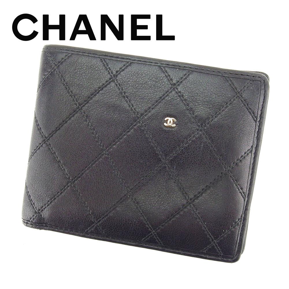 【中古】 シャネル CHANEL 二つ折り 札入れ 二つ折り 財布 レディース メンズ 可 ビコローレ ブラック レザー ヴィンテージ 人気 T7265