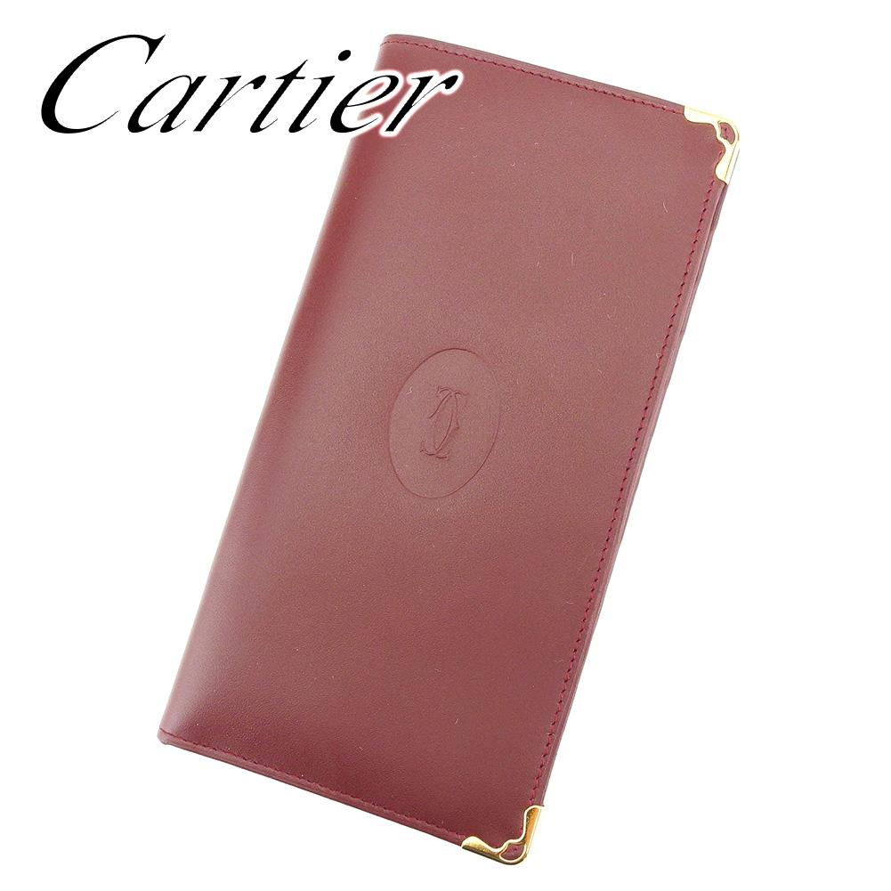 【中古】 カルティエ Cartier 長札入れ 長財布 レディース メンズ 可 ボルドー レザー T7268