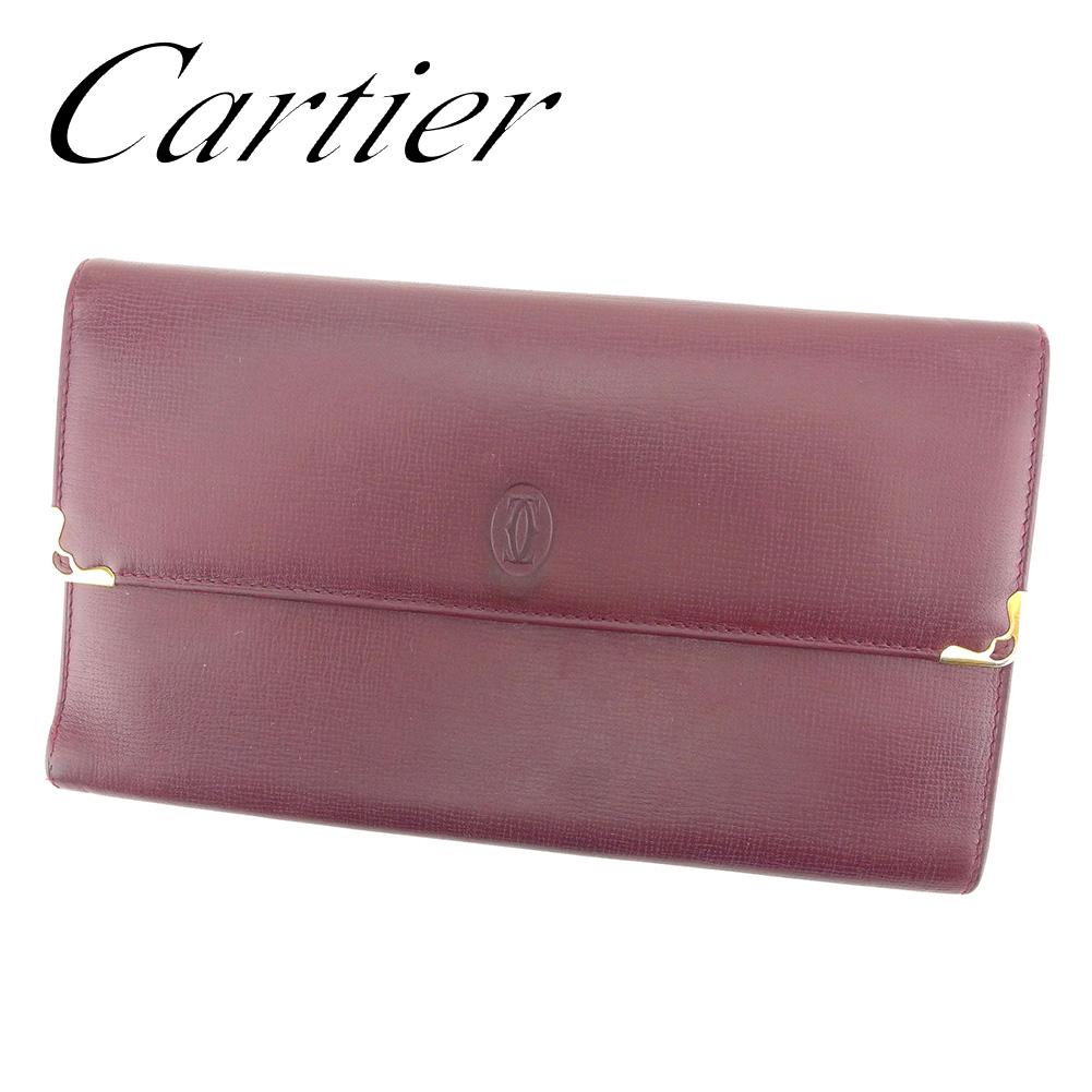 【中古】 カルティエ Cartier 三つ折り 財布 長財布 レディース メンズ 可 マストライン ボルドー レザー 人気 セール T7270