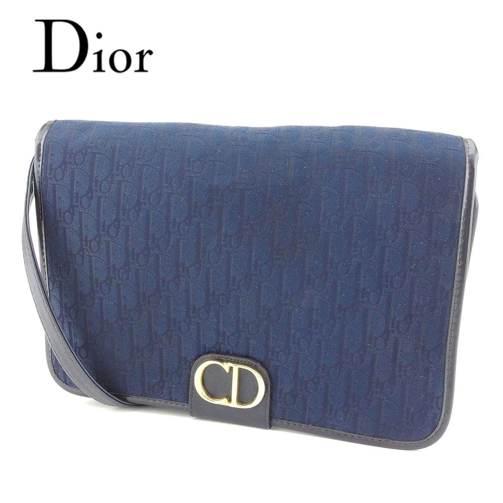 81b47614b2b8 【中古】 ディオール Christian Dior ショルダーバッグ バック ワンショルダー ネイビー トロッター レディース T7271s .