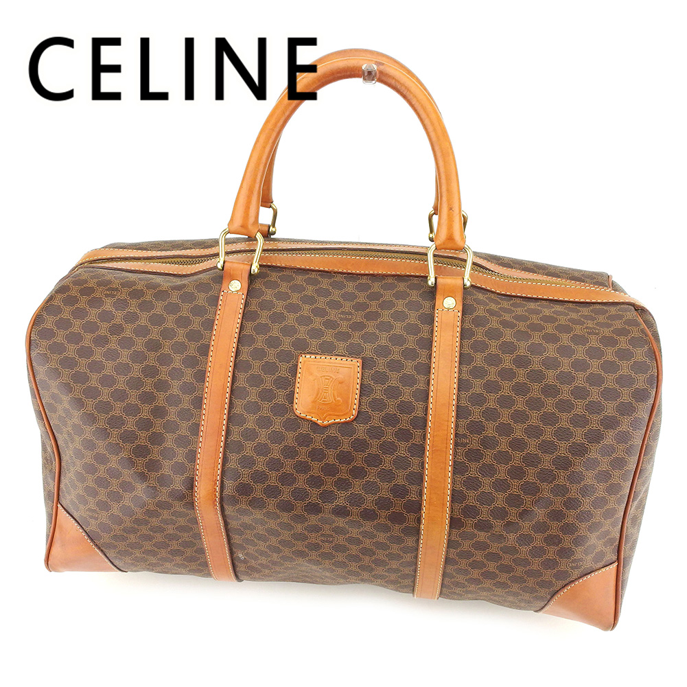 66570e72d6e3 Celine CELINE Boston bag traveling bag lady s men s possible macadam brown  PVC X leather popularity sale T7274