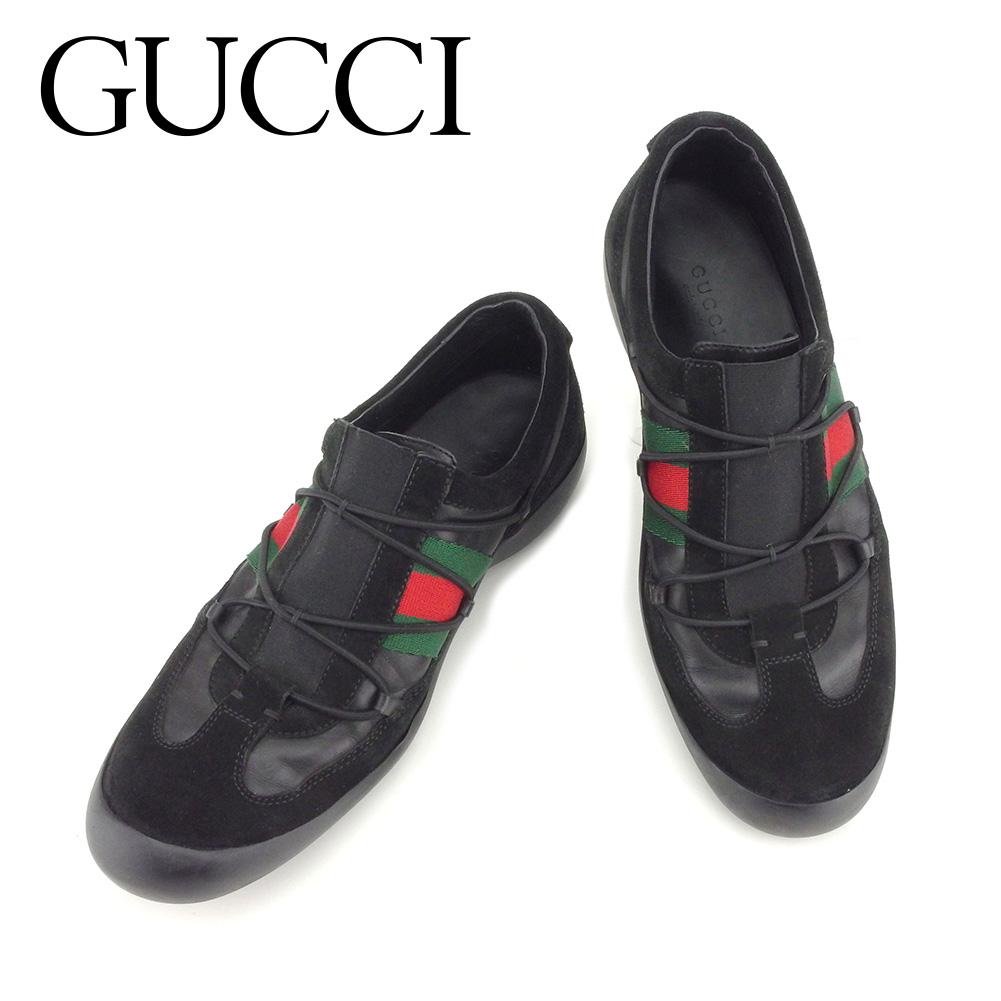 【中古】 グッチ GUCCI スニーカー シューズ 靴 メンズ可 #36ハーフ シェリー ブラック レッド グリーン スエード×レザー 人気 セール T7293 .