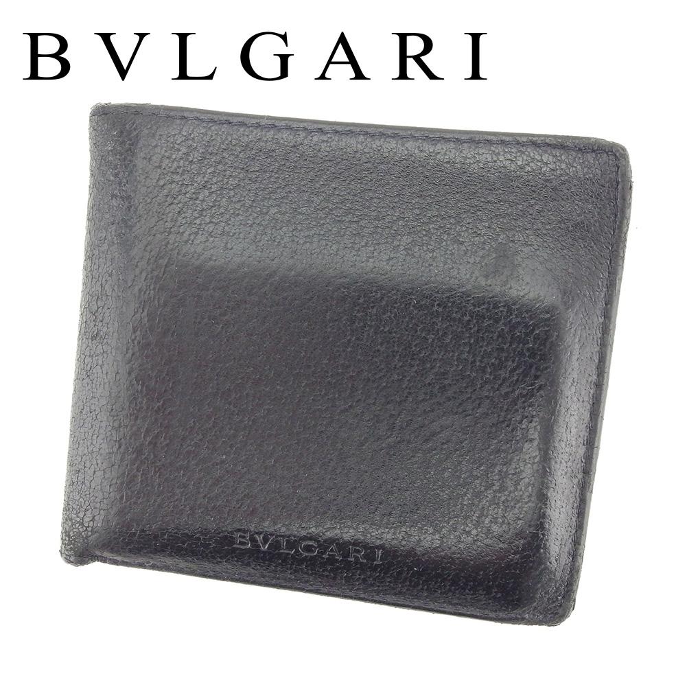 【中古】 ブルガリ BVLGARI 二つ折り 財布 レディース メンズ 可 ロゴ ブラック レザー 人気 セール T7294