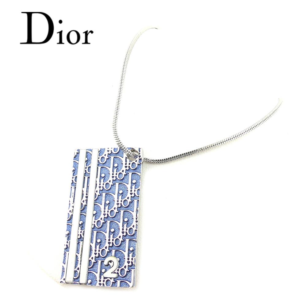 【中古】 ディオール Dior ネックレス アクセサリー レディース メンズ 可 トロッター ホワイト 白ブルー シルバー シルバー素材 廃盤 レア 人気 T7319