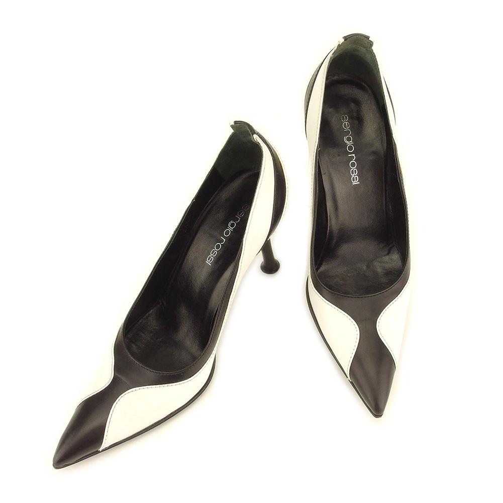【中古】 セルジオロッシ Sergio Rossi パンプス シューズ 靴 メンズ可 #34 ブラック ホワイト 白 レザー T7353
