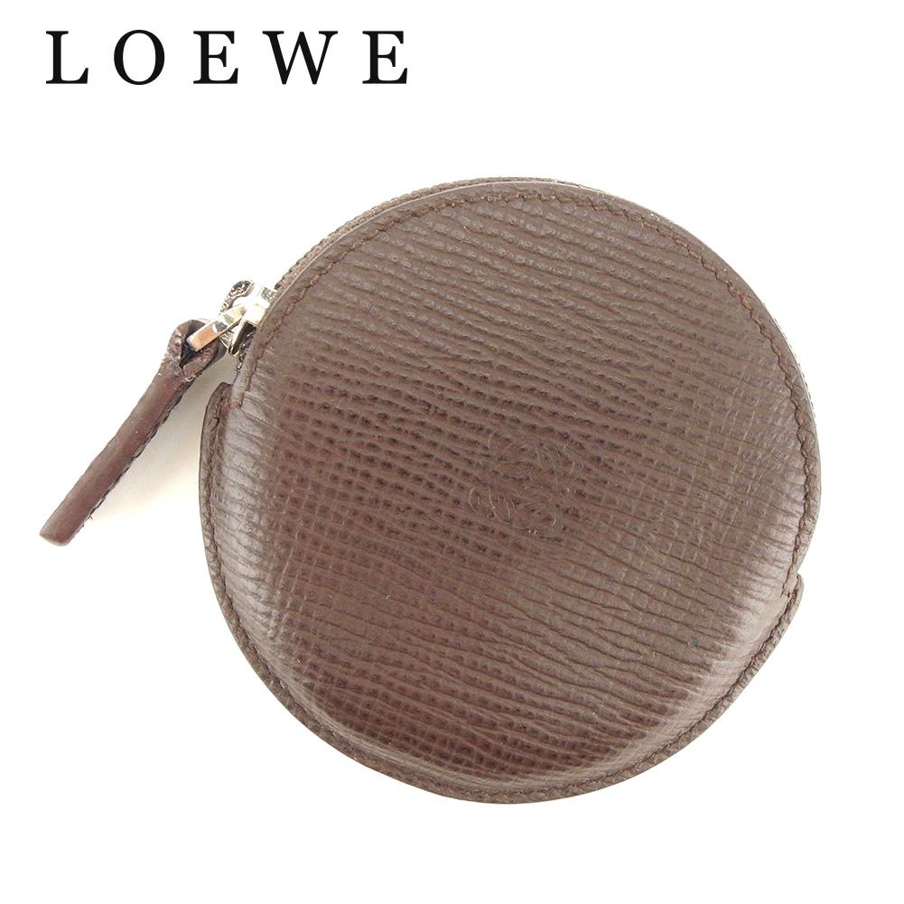 【中古】 ロエベ LOEWE コインケース 小銭入れ レディース メンズ 可 アナグラム ブラウン レザー 人気 良品 T7356