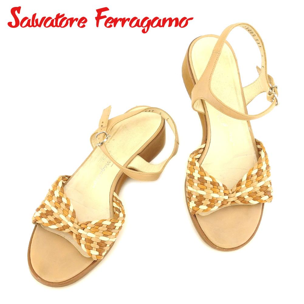 【中古】 サルヴァトーレ フェラガモ Salvatore Ferragamo サンダル シューズ 靴 メンズ可 #6 ベージュ ブラウン レザー 人気 セール T7360