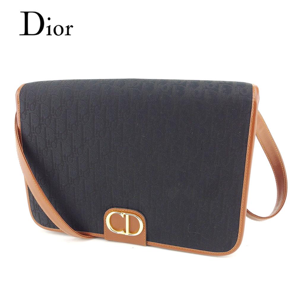 【中古】 ディオール Christian Dior ショルダーバッグ バック ワンショルダー ブラック ブラウン トロッター メンズ可 T7362s .