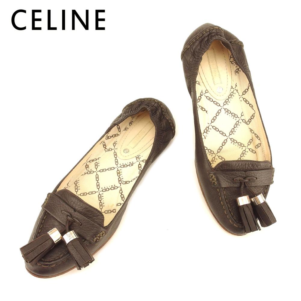 【中古】 セリーヌ CELINE パンプス シューズ 靴 レディース #36 フリンジ ブラウン レザー 人気 セール T7364