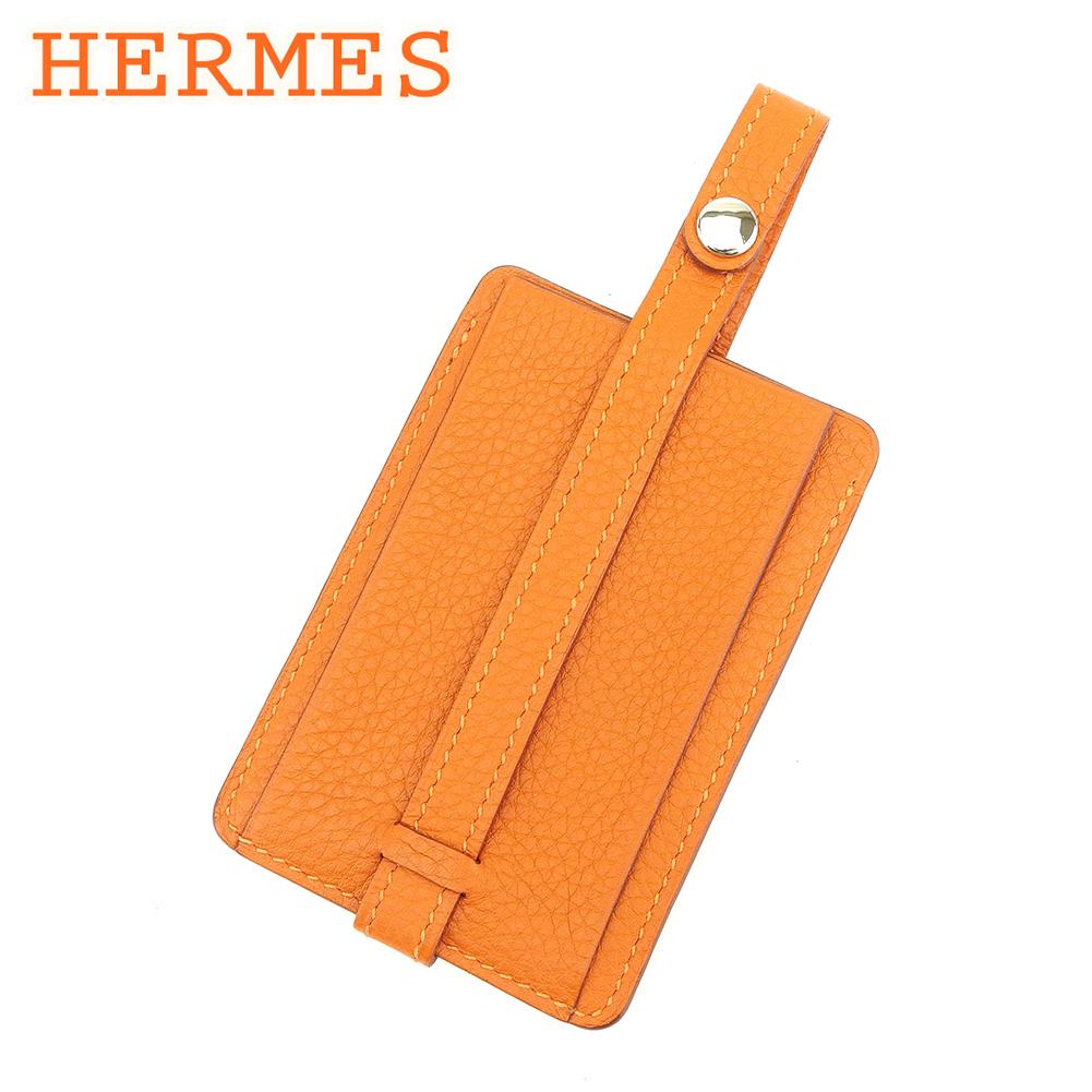 【中古】 エルメス HERMES ネームタグ バッグタグ レディース メンズ 可  オレンジ レザー 人気 良品 T7367 .