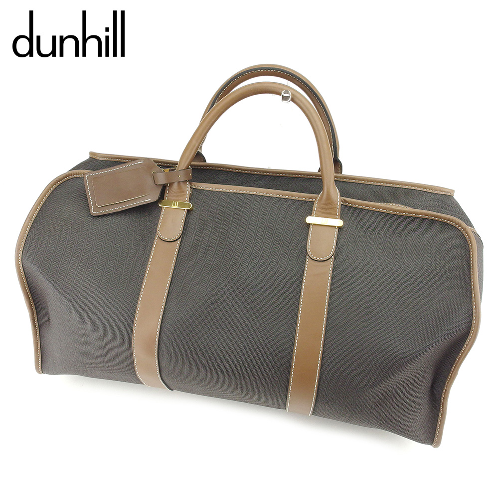 5c9b5f4514 Dunhill dunhill Boston bag traveling bag lady s men s possible logo plate  black brown PVC X leather popularity sale T7605