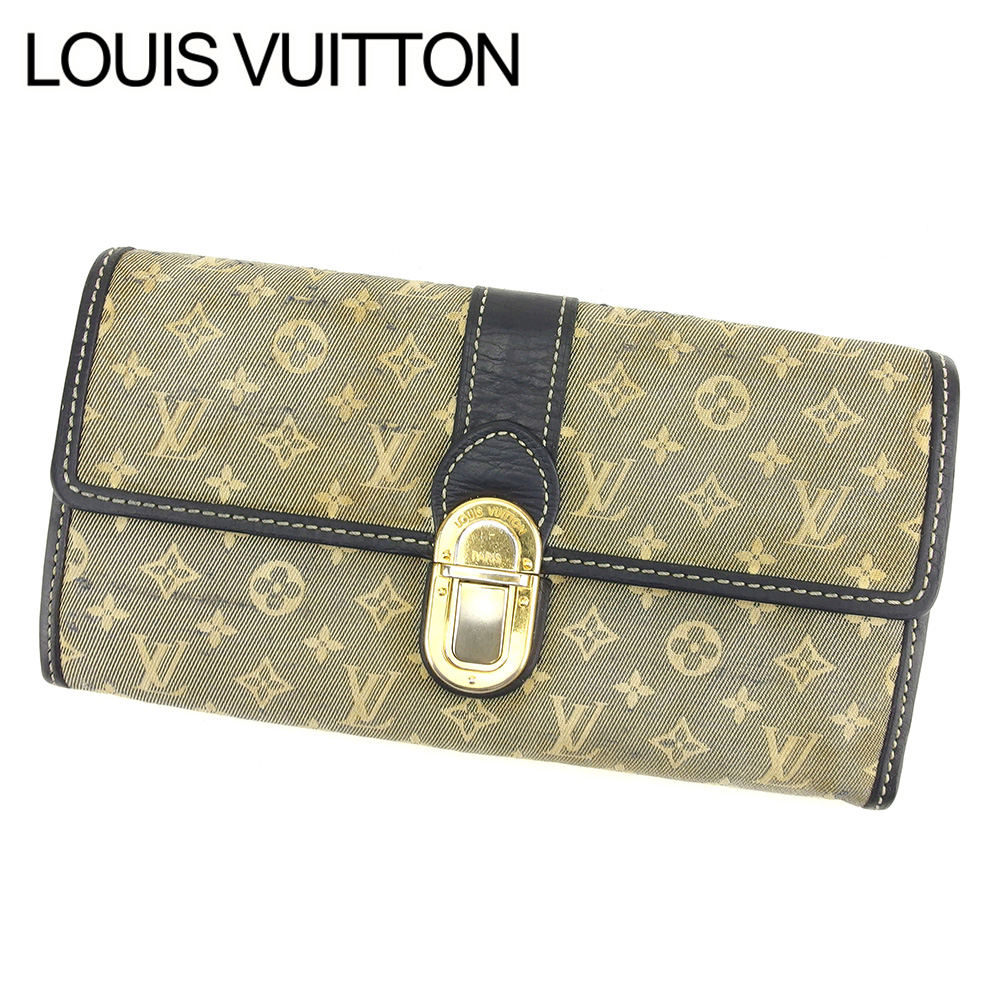 d07617b7fc9c Long wallet lady s men s possible ポルトフォイユ Sarah monogram mini-navy beige  canvas X leather popularity sale T7612 with the Louis Vuitton Louis Vuitton  ...