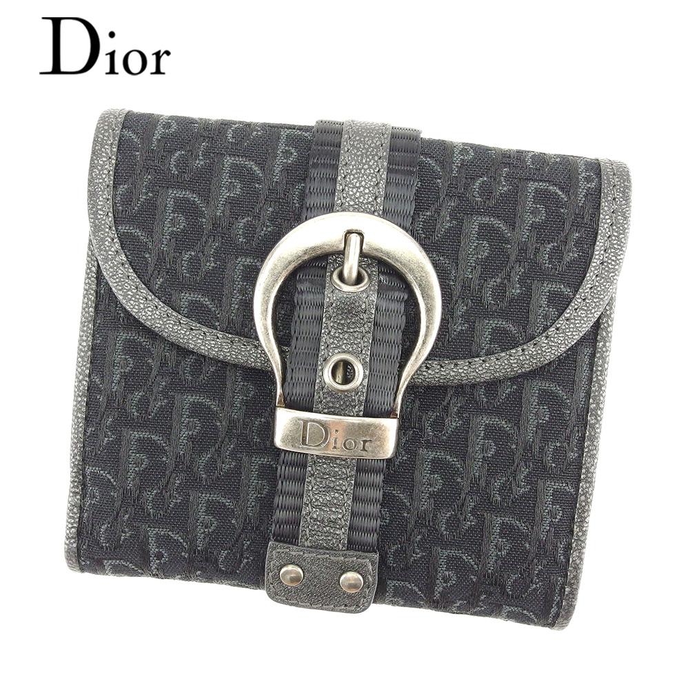 【中古】 ディオール Dior 二つ折り 財布 Wホック レディース メンズ 可 トロッター ブラック キャンバス×レザー 人気 良品 T7614
