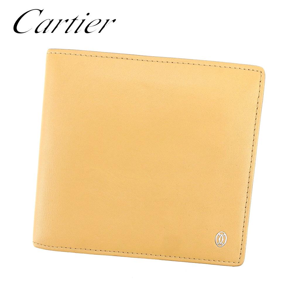 【中古】 カルティエ Cartier 二つ折り 財布 レディース メンズ 可 パシャ ベージュ レザー 人気 セール T7618