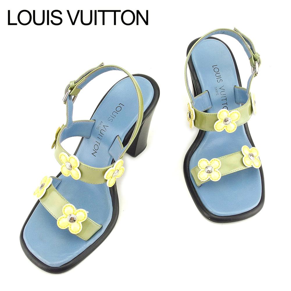 【中古】 ルイ ヴィトン Louis Vuitton サンダル シューズ 靴 メンズ可 #35 フラワーモチーフ ブルー グリーン イエロー エナメル×レザー 人気 セール T7619