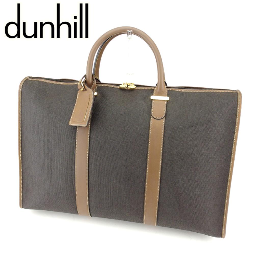 【中古】 ダンヒル dunhill ボストンバッグ 旅行用バッグ レディース メンズ 可  グレー 灰色 ベージュ PVC×レザー 人気 セール T7634