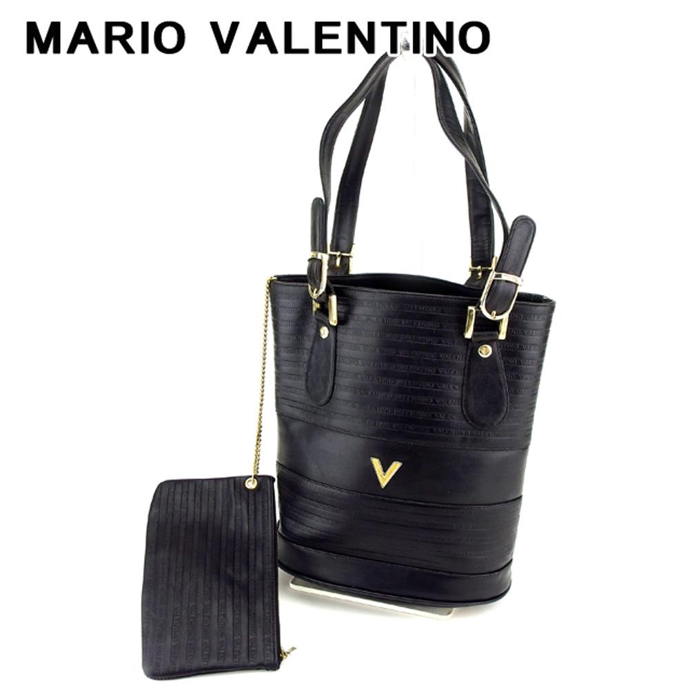 【中古】 マリオ ヴァレンティノ Mario Valentino トートバッグ バック 巾着ショルダー ブラック レディース T7646s .