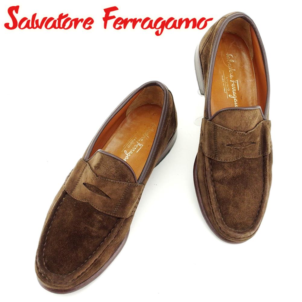【中古】 サルヴァトーレ フェラガモ Salvatore Ferragamo ローファー シューズ 靴 メンズ ♯7ハーフEE ブラウン スエード×レザー B951
