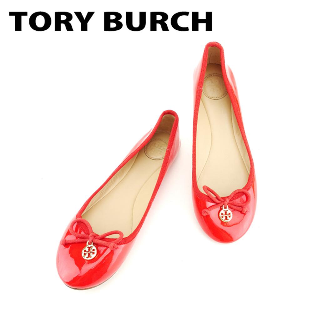 【中古】 トリーバーチ Tory Burch パンプス シューズ 靴 レディース ♯5.5M バレエ フラット レッド ゴールド パテントレザー B959