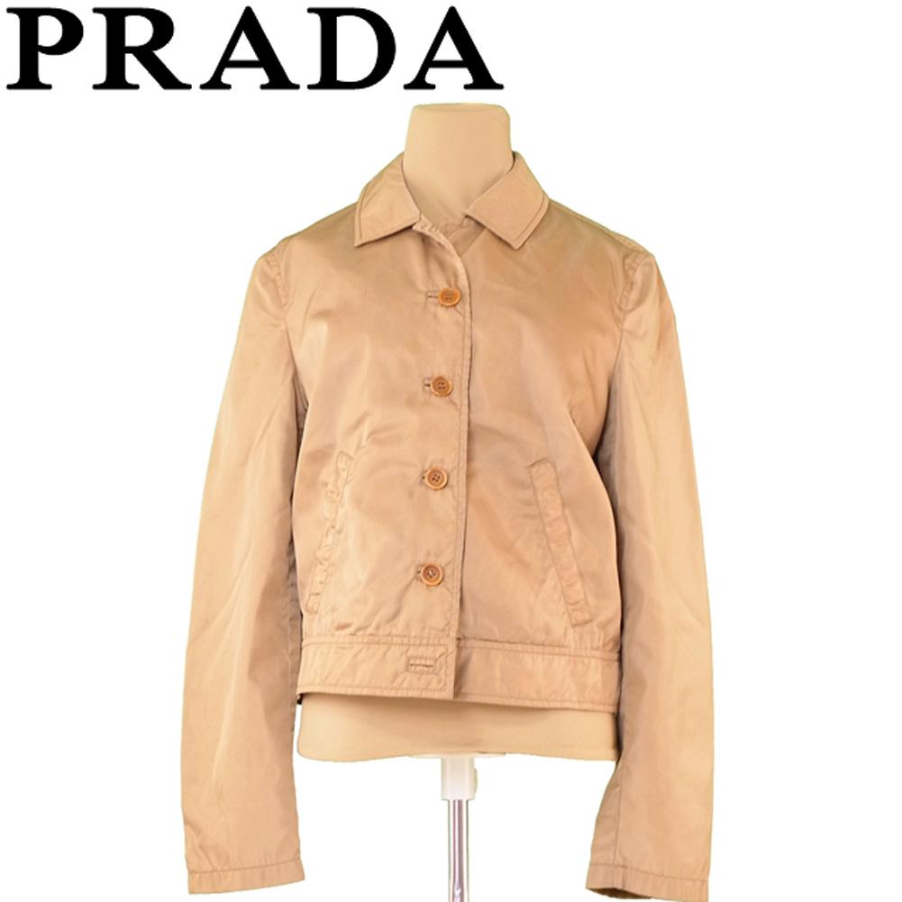 プラダ PRADA ジャケット ポケット付き レディース ♯Lサイズ シングルボタン ベージュ ナイロンNY/100%(裏地)レーヨンRY/100% 訳あり セール 【中古】 T6627 .