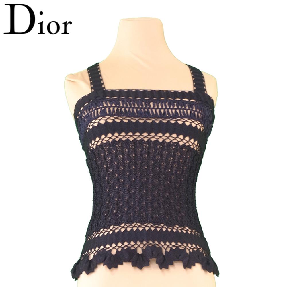 ディオール Dior キャミソール インナー レディース ♯Sサイズ 透かし編み ブラック レーヨン75%ナイロン25% 超美品 セール 【中古】 T6632