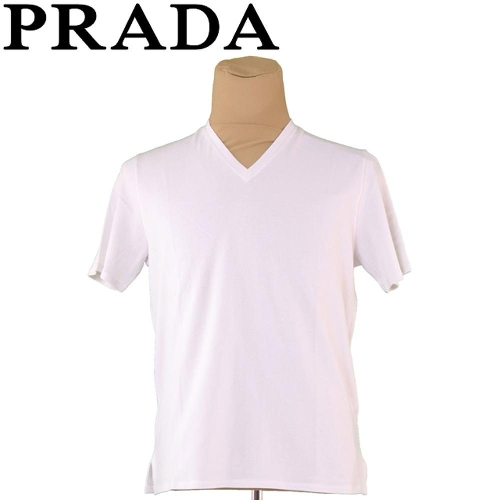 プラダ PRADA Tシャツ 半袖 カットソー メンズ ♯Mサイズ Vネック グレー 灰色 コットンCO/60%ナイロンNY/40% 美品 セール 【中古】 T6679 .