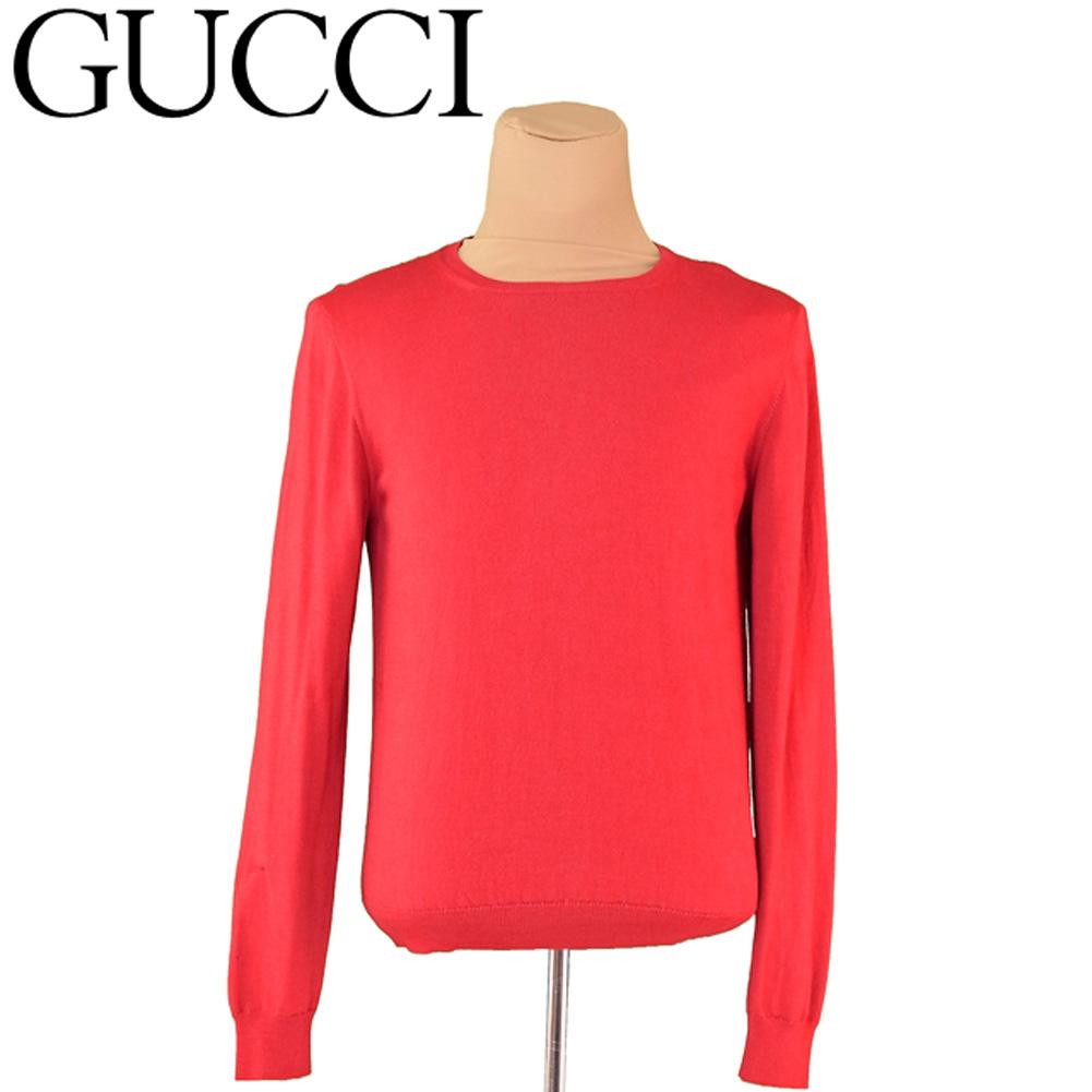 【中古】 グッチ GUCCI ニット 長袖 セーター メンズ ♯Mサイズ レッド ウール毛70%シルク絹20%カシミア10% T6690 .