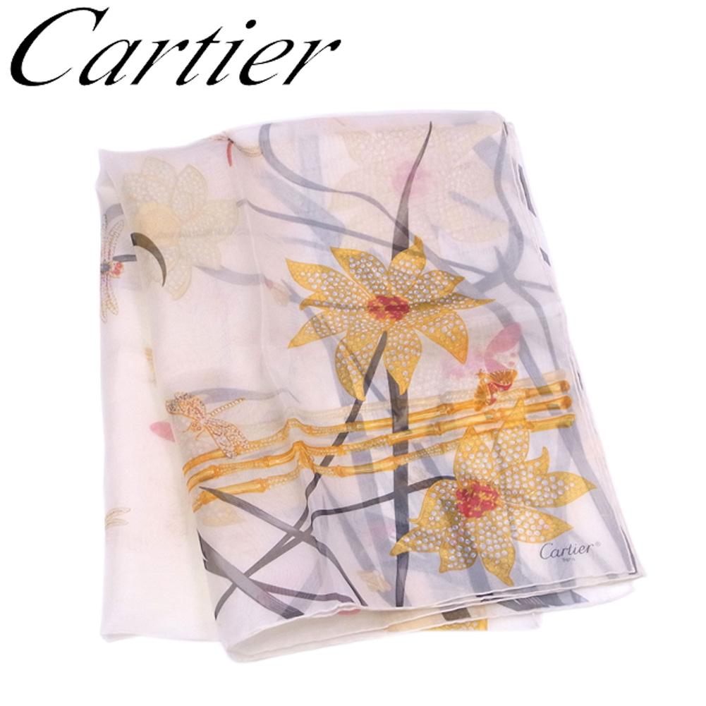 【中古】 カルティエ Cartier ストール スカーフ レディース プリント ベージュ イエロー ブラック系 シルク100%ストール T6708s .