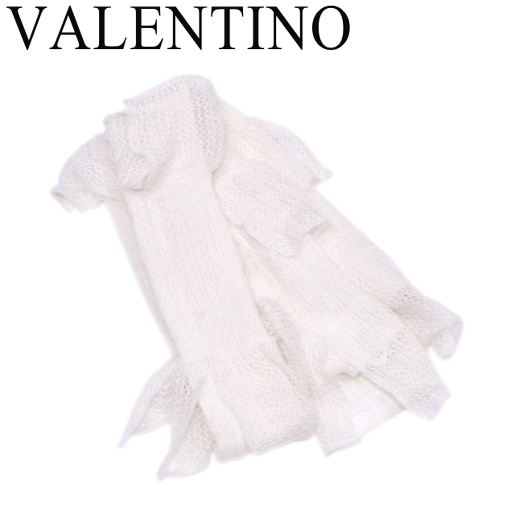 レッド ヴァレンティノ RED VALENTINO マフラー ストール レディース フリル ホワイト 白 モヘア60%ナイロン35%ウール5% 未使用品 セール 【未使用】 T6805 .