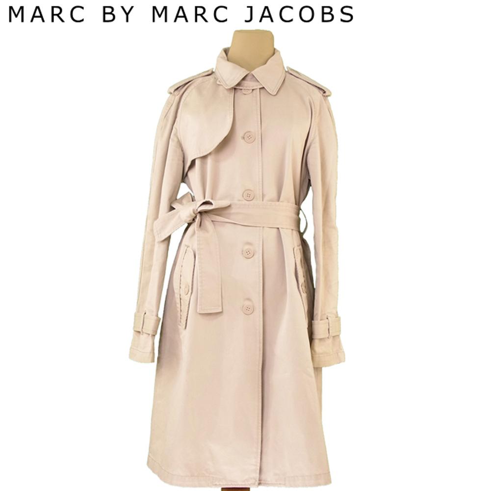 【値引きクーポン】 【中古】 マークバイ マークジェイコブス MARC BY MARC JACOBS コート ウエストリボン ロング レディース ♯L Gサイズ ベージュ コットン100% T6836 .
