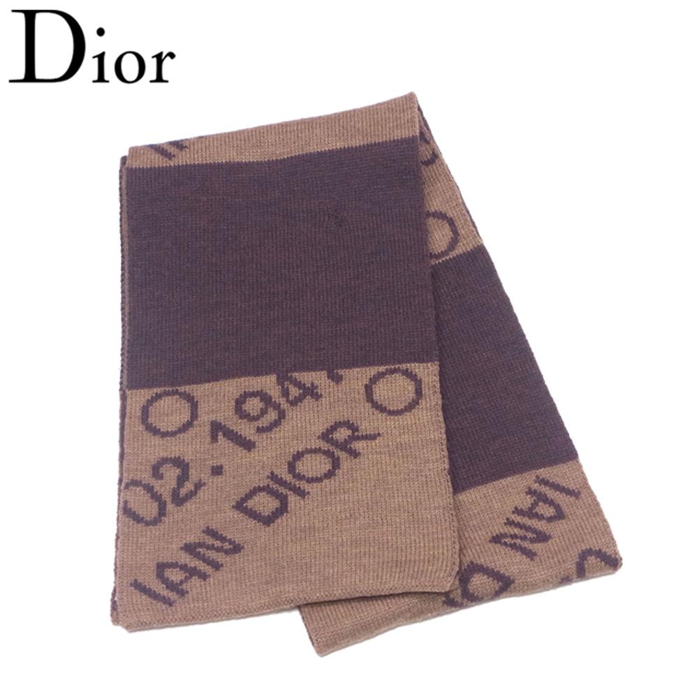 ディオール Dior マフラー レディース メンズ 可 ボーダー ブラウン ベージュ ウール100% 人気 セール 【中古】 T6887 .
