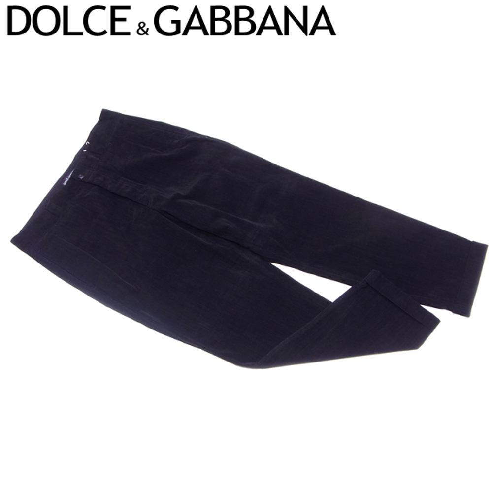 ドルチェ&ガッバーナ DOLCE&GABBANA パンツ 裾折り返し メンズ ♯48サイズ ドルガバ コーデュロイ ブラック コットンCO/98%エラスタンEA/2% 訳あり 未使用品 【未使用】 T7027 .