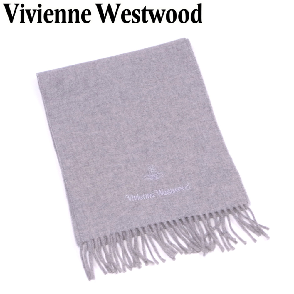 【中古】 ヴィヴィアン ウエストウッド Vivienne Westwood マフラー フリンジ付き レディース メンズ 可 オーブ刺繍 グレー 灰色 ウール100%マフラー T7038s .