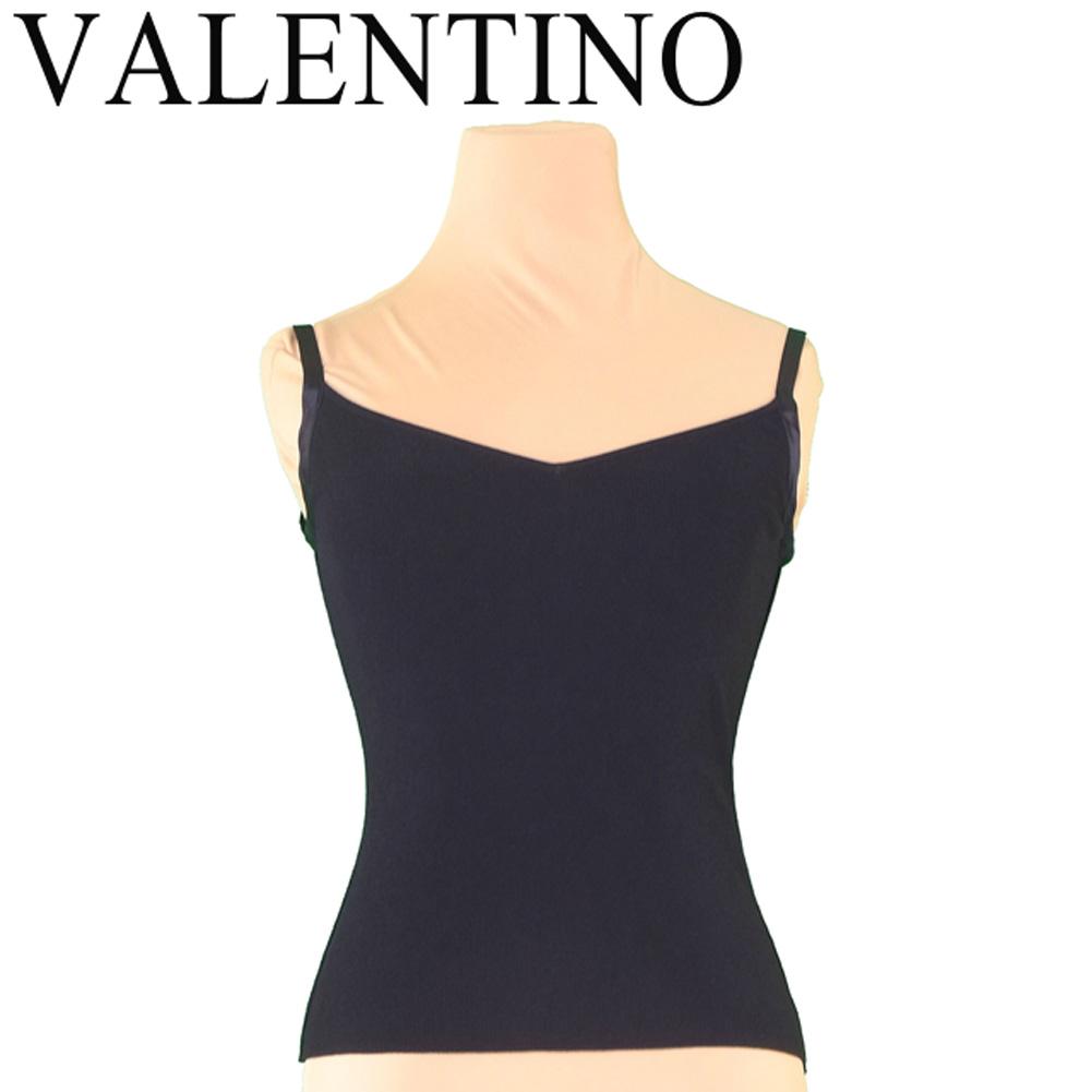 ヴァレンティノ VALENTINO キャミソール インナー レディース ♯Sサイズ Vネック ブラック ヴィスコースVI/83%ポリエステルPL/13% 美品 セール 【中古】 T7115 .