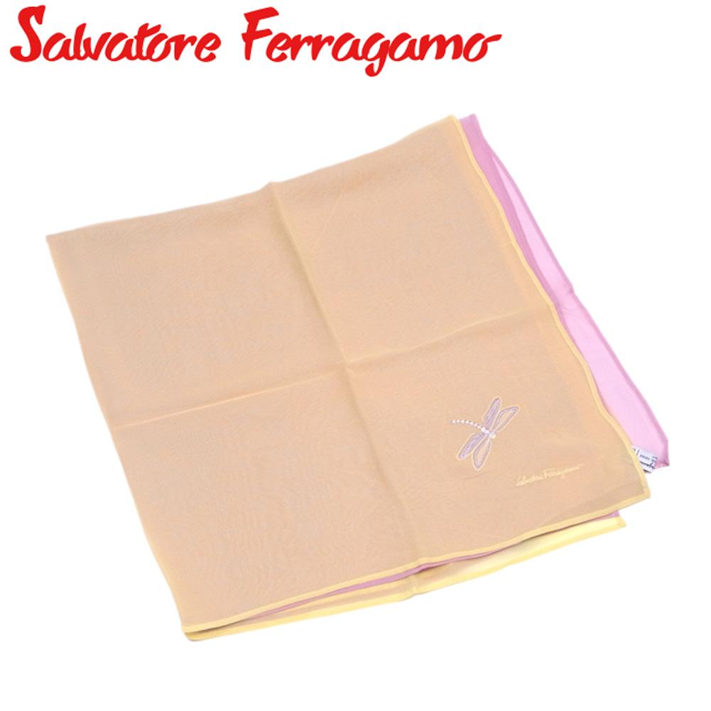 【中古】 サルヴァトーレ フェラガモ Salvatore Ferragamo スカーフ 大判サイズ レディース 2枚仕立テ イエロー ピンク シルク100% T7241