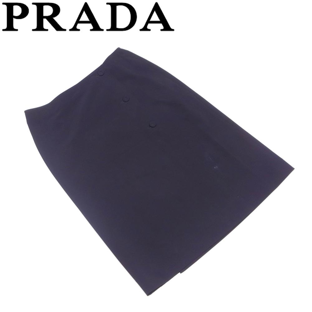 プラダ PRADA スカート セミフレアー レディース ♯38サイズ アシンメトリーボタン ブラック ポリエステル90%ストレッチ10% 人気 セール 【中古】 T7247 .