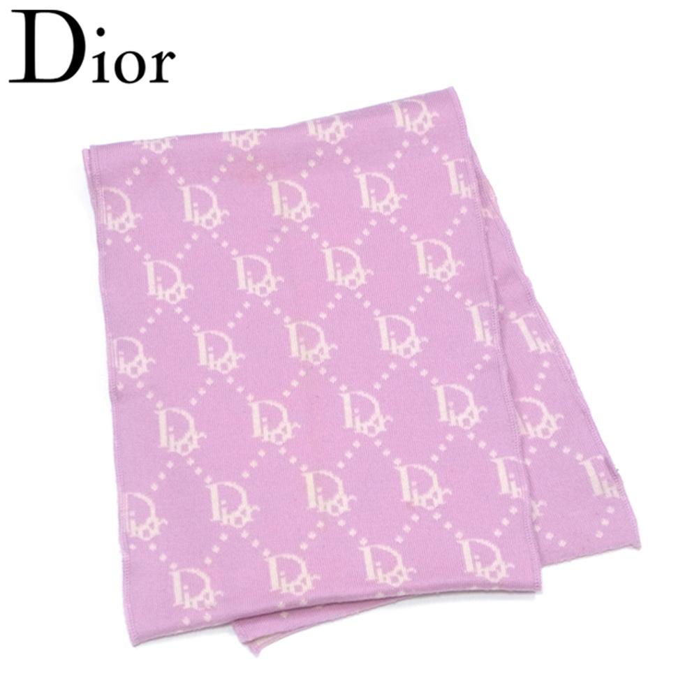 ディオール Dior マフラー レディース リバーシブル トロッター ピンク ベージュ ウール100% 人気 セール 【中古】 T7275 .